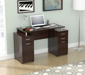 Espresso Finish Wood Computer Desk with Four Drawers