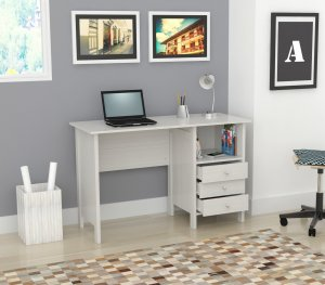 White Finish Wood Computer Desk with Three Drawers