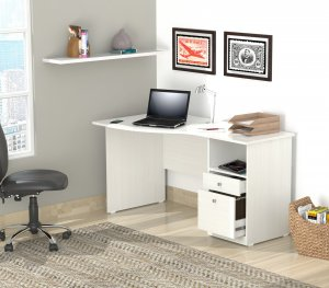 "29.5"" White Melamine and Engineered Wood Curved Top Desk"