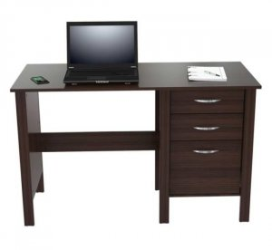 "29.7"" Classy Espresso Melamine and Engineered Wood Writing Desk with Three Drawers"