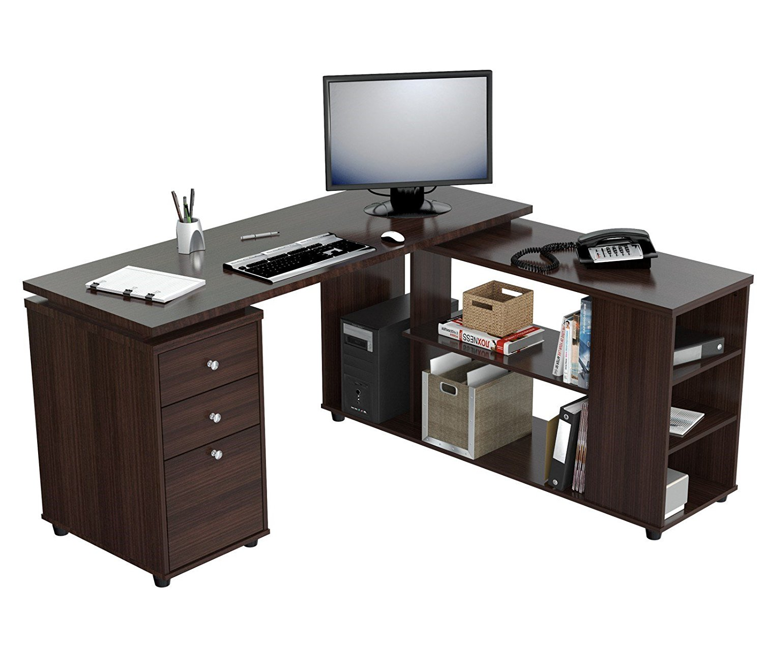 "29.5"" Espresso Melamine and Engineered Wood L-Shaped Computer Desk"