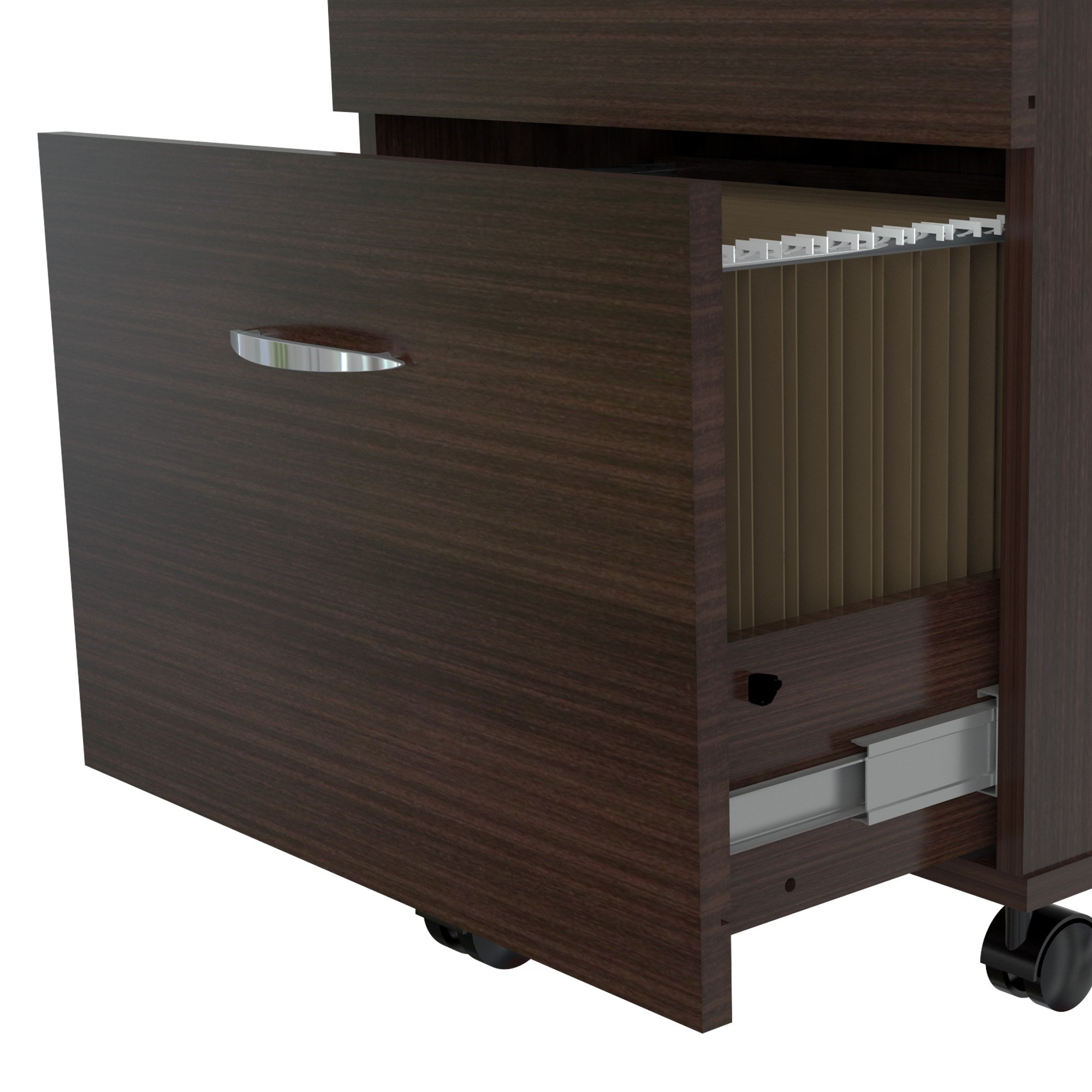 "28"" Espresso Melamine and Engineered Wood File Cabinet with Two Drawers"