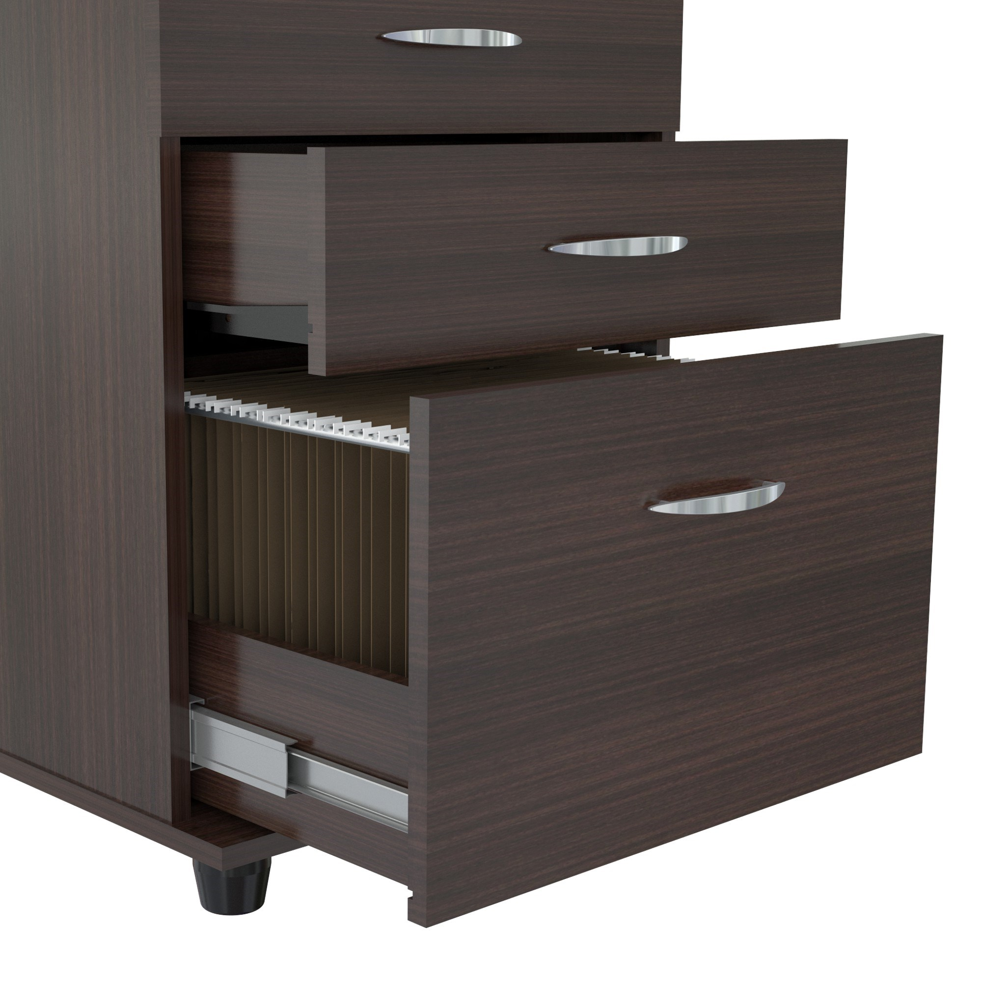 "27"" Espresso Melamine and Engineered Wood File Cabinet with 3 Drawers"