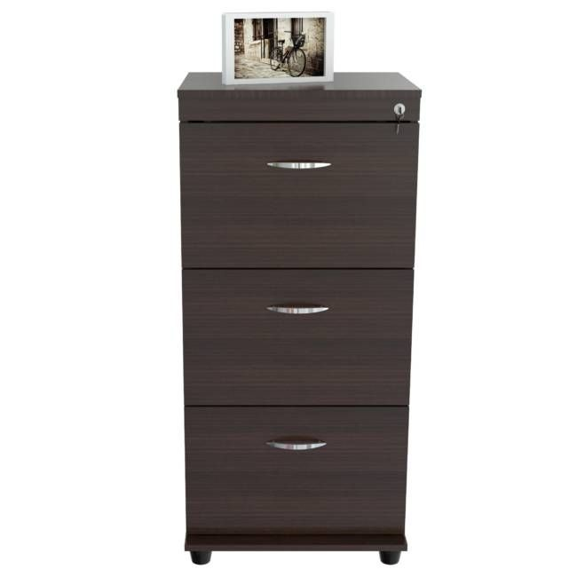 """40.1"""" Espresso Melamine and Engineered Wood File Cabinet with 3 Drawers"""