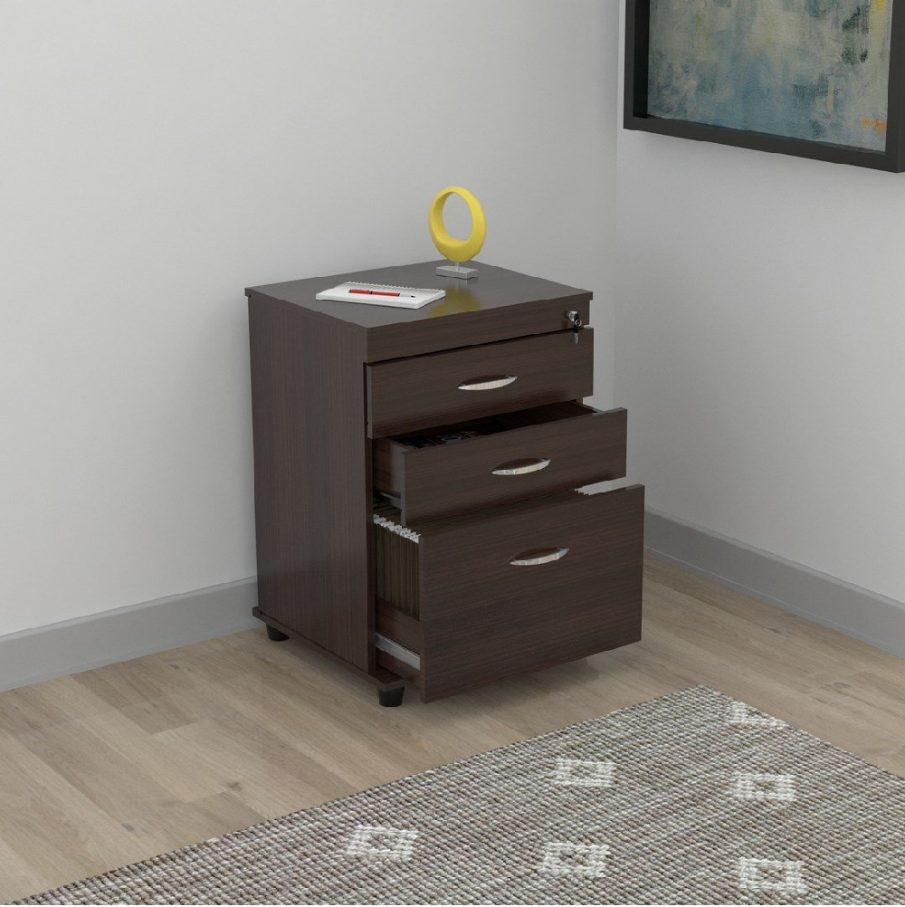 """40.2"""" Espresso Melamine and Engineered Wood File Cabinet with 3 Drawers"""