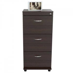 Espresso Wood Three Drawer filing Cabinet