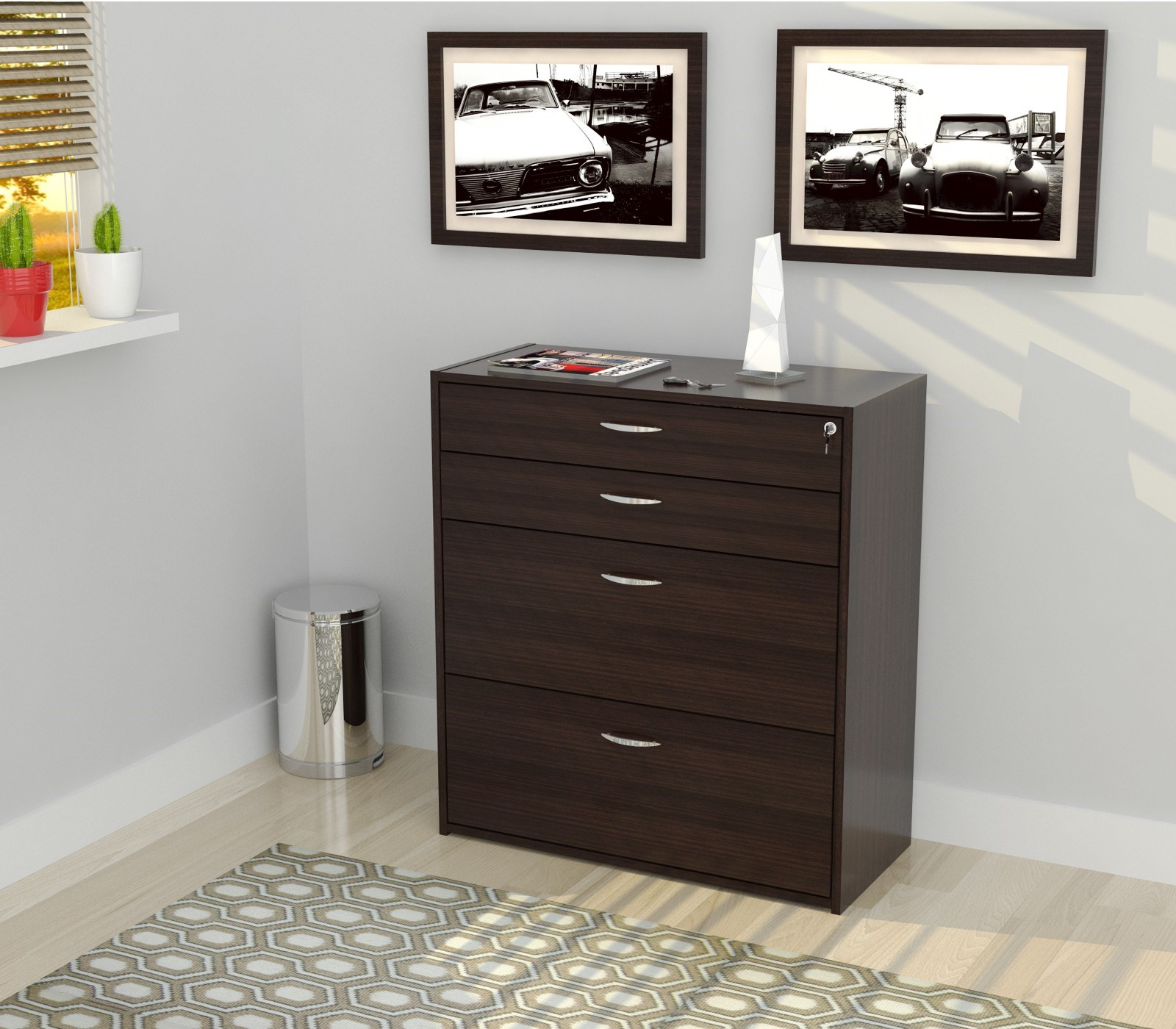 "38.6"" Espresso Melamine and Engineered Wood Filing Cabinet with 4 Drawers"