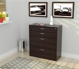 "38.7"" Espresso Melamine and Engineered Wood Filing Cabinet with 4 Drawers"