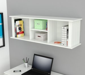 """15"""" White Melamine and Engineered Wood Wall Mounted Hutch"""