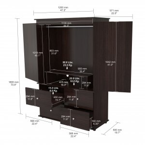 """70.9"""" Espresso Solid Composite Wood Dresser with 2 Doors and 4 Drawers"""