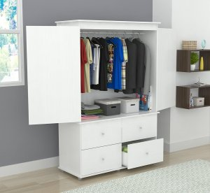 White Finish Wood Four Drawer Armoire Dresser