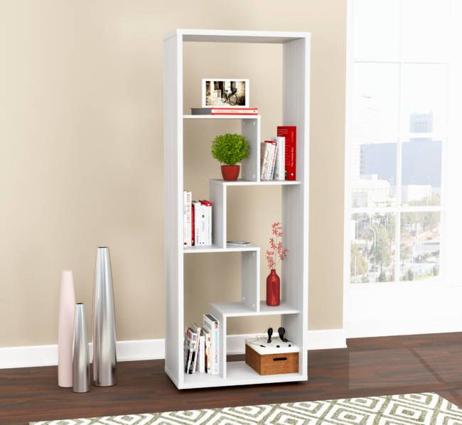 "68.2"" White Melamine and Engineered Wood Bookcase"