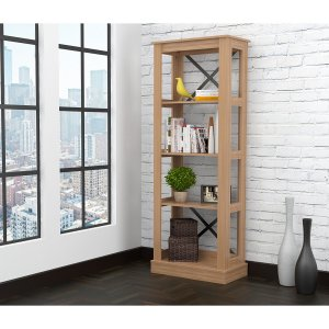Brown Finish Wood Four Shelf Open Bookcase