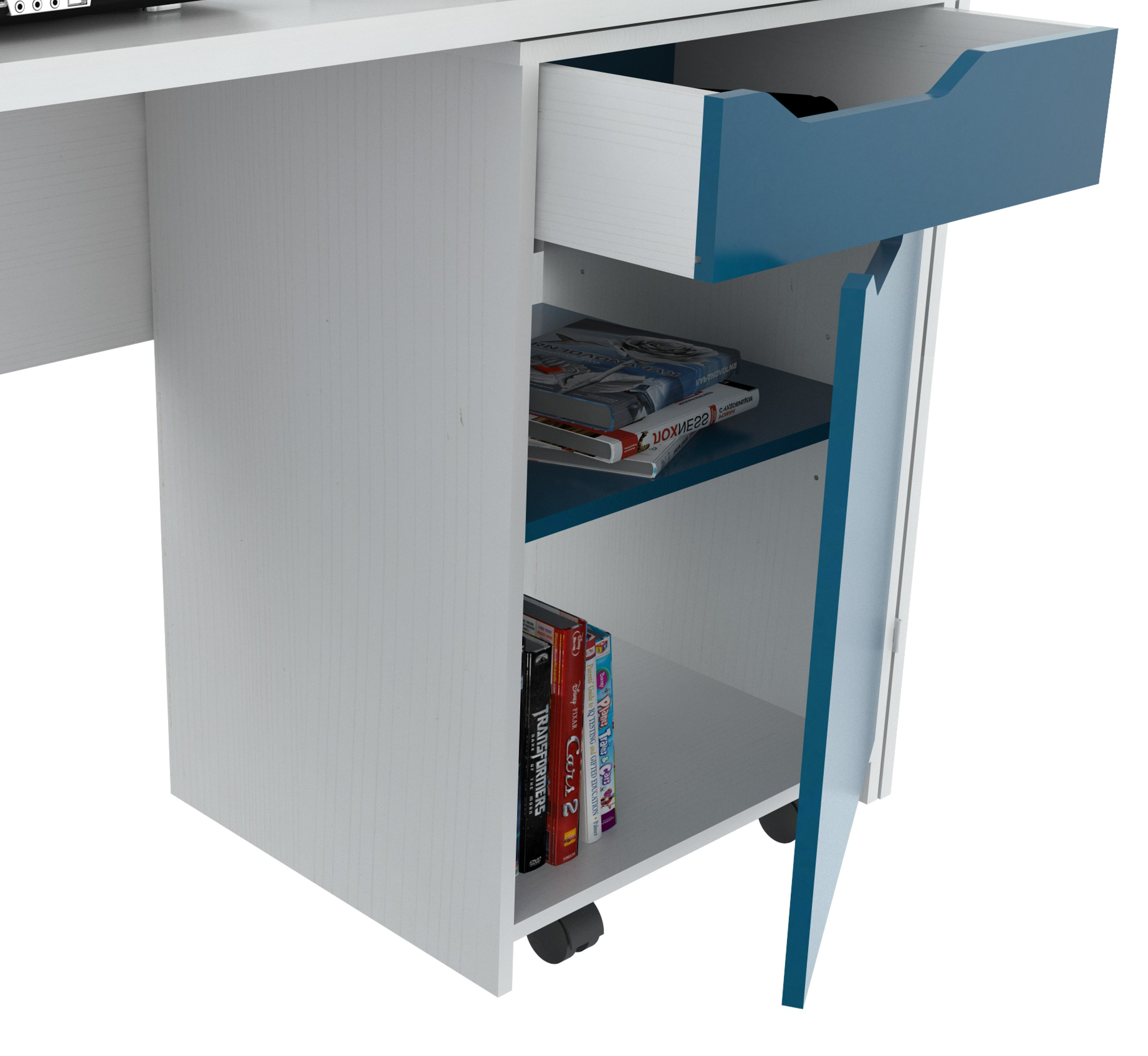 Desk with Swing out Storage - Melamine /Engineered wood