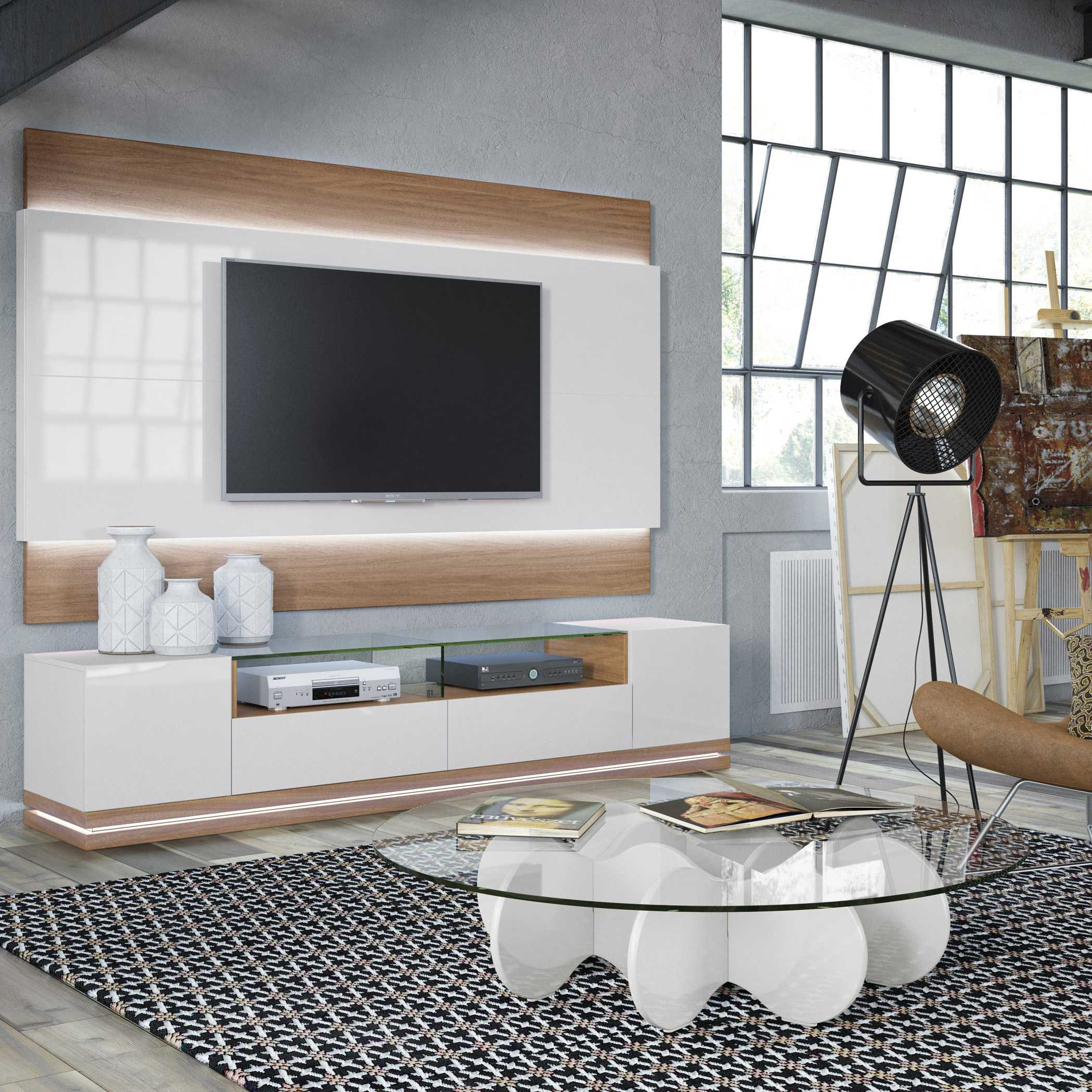 Off White Tv Stand And Floating Wall Tv Panel With Led Lights