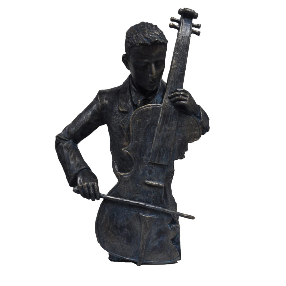 Violin Player Statue Sculpture in Patina Black Finish
