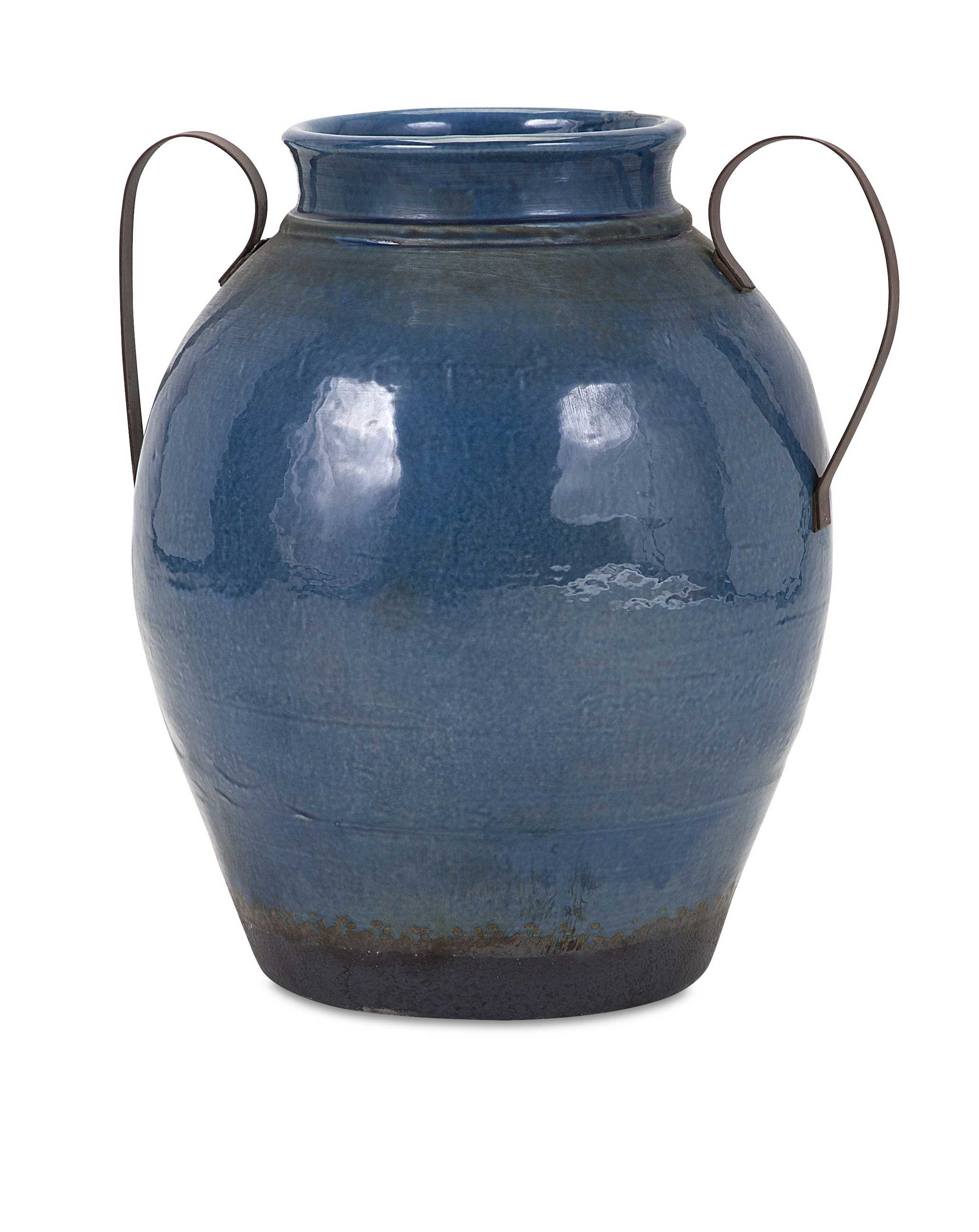 Attractive Large Vase with Metal Handles