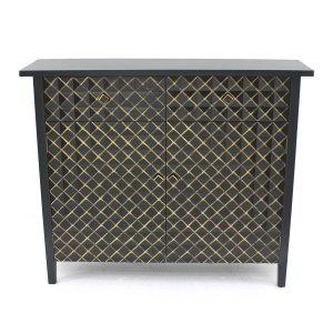 """12"""" x 43"""" x 36"""" Black & Gold, Vintage, Drawer - Cabinet"""