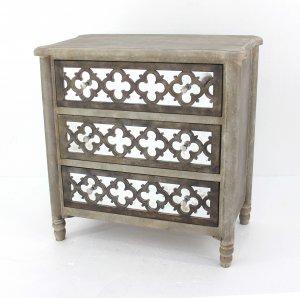 "15"" x 32"" x 32"" Brown 3 Drawer Wood Mirror - Cabinet"