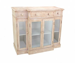 "14"" x 42"" x 34"" Beige Vintage French Style Distressed - Hallway Cabinet"
