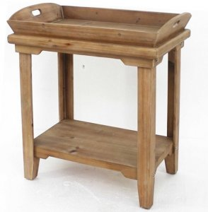 """18"""" x 23"""" x 18"""" Natural, Rustic, Wooden - Table With Serving Tray Top"""