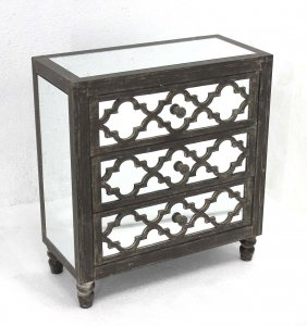 """12"""" x 25.5"""" x 28"""" Gray 3 Drawer Antique Mirrored Wooden - Cabinet"""