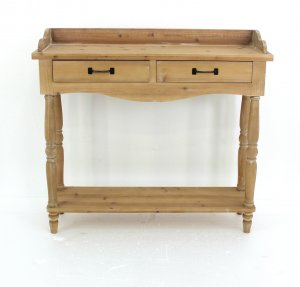 """11.75"""" x 42"""" x 38.5"""" Natural 2 Drawer Rustic Unfinished Dressing - End Table"""