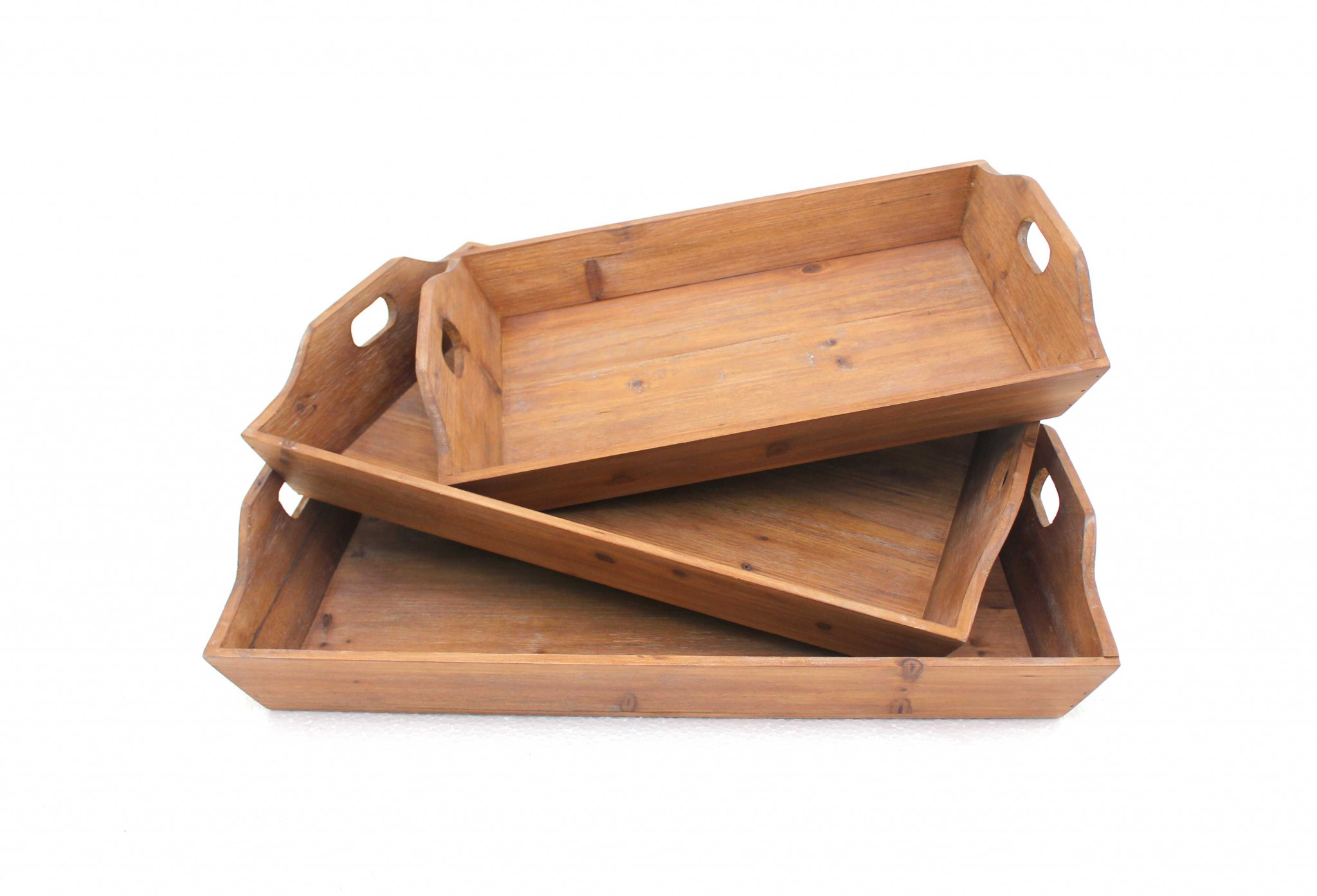 Brown 3pc Country Cottage Wooden Serving Tray Set