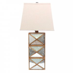 "6.25"" x 6.75"" x 27.5"" Gold, Modern Illusionary, Mirrored Base - Table Lamp"