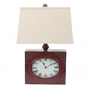 "7"" x 7"" x 22"" Red, Vintage, Metal Clock Base - Table Lamp"