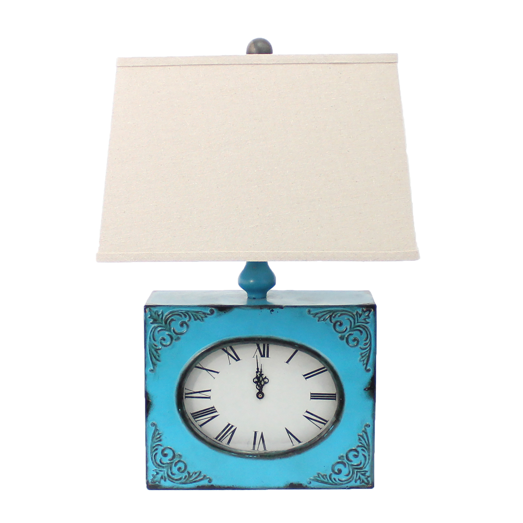 """22"""" X 22"""" X 7"""" Blue Vintage Table Lamp With Metal Clock Base"""