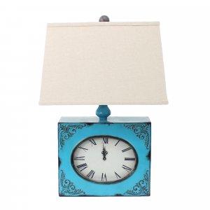 "7"" x 7"" x 22"" Blue, Vintage, Metal Clock Base - Table Lamp"