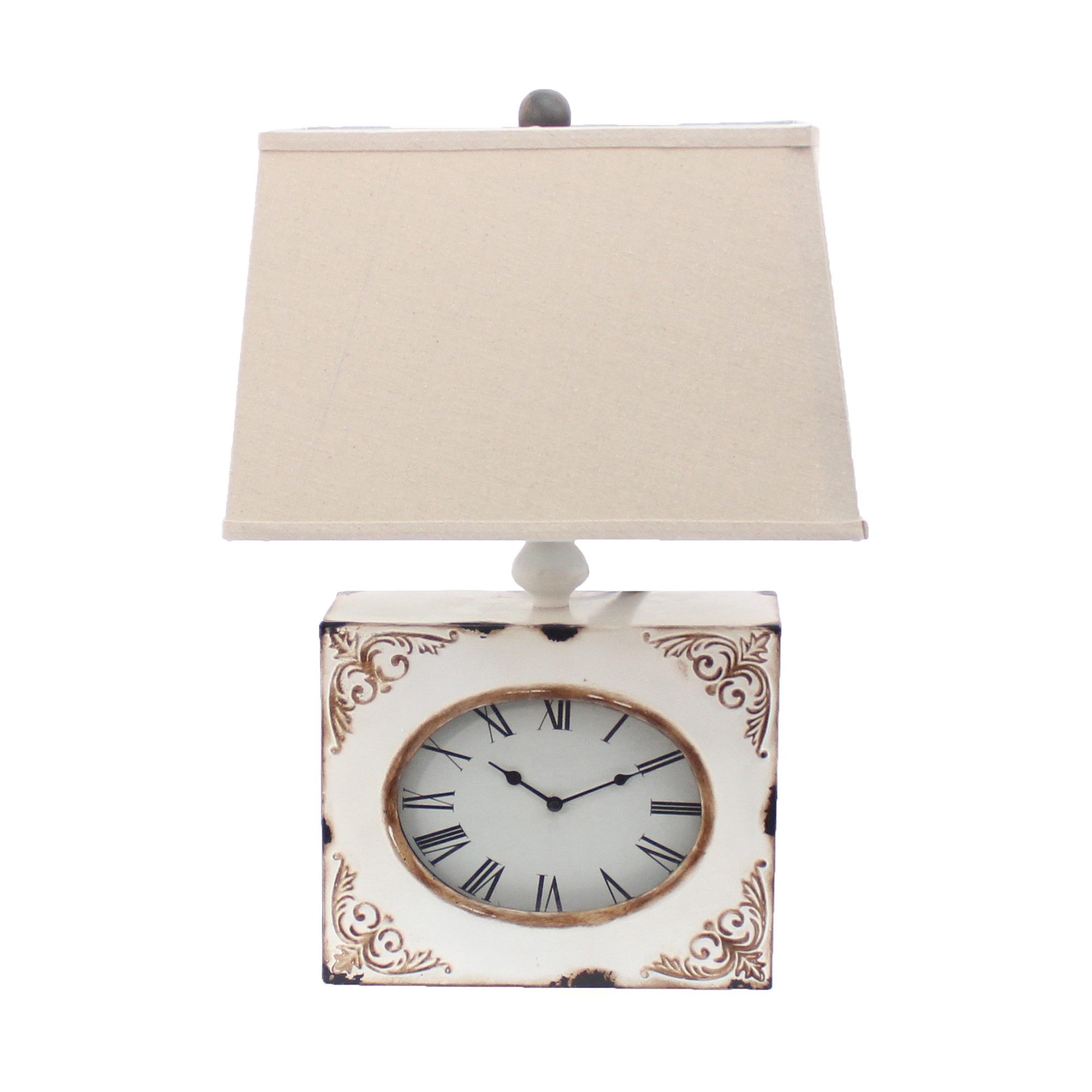 """22"""" X 22"""" X 7"""" White Vintage Table Lamp With Metal Clock Base"""