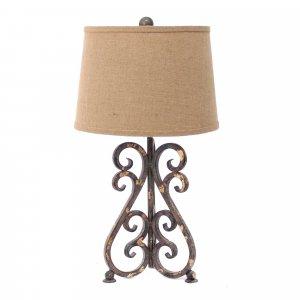 "13"" x 11"" x 23.75"" Bronze Vintage Metal Khaki Linen Shade - Table Lamp"