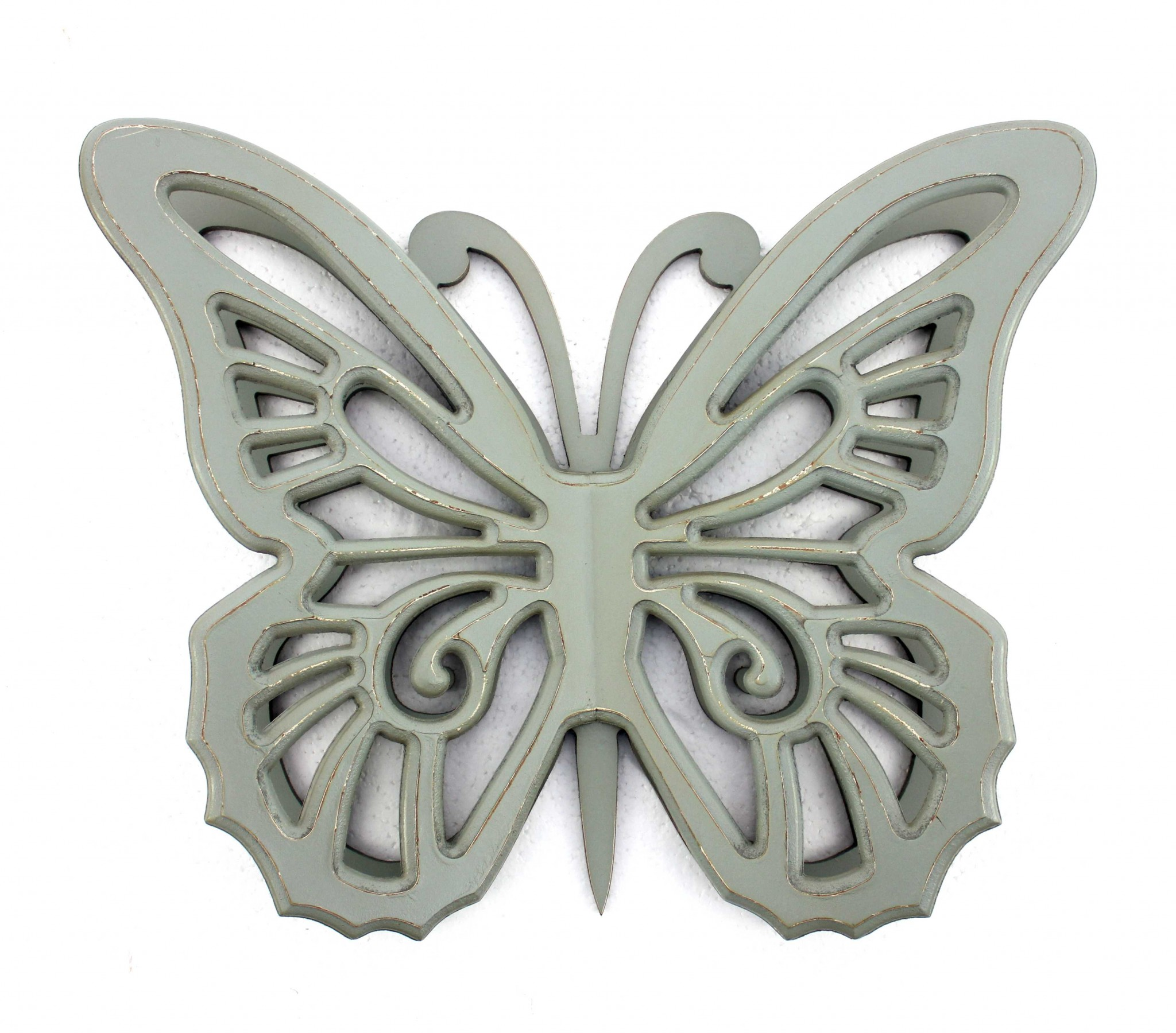 """4.25"""" X 18.5"""" X 23.25"""" Gray Rustic Butterfly Wooden Wall Decor"""