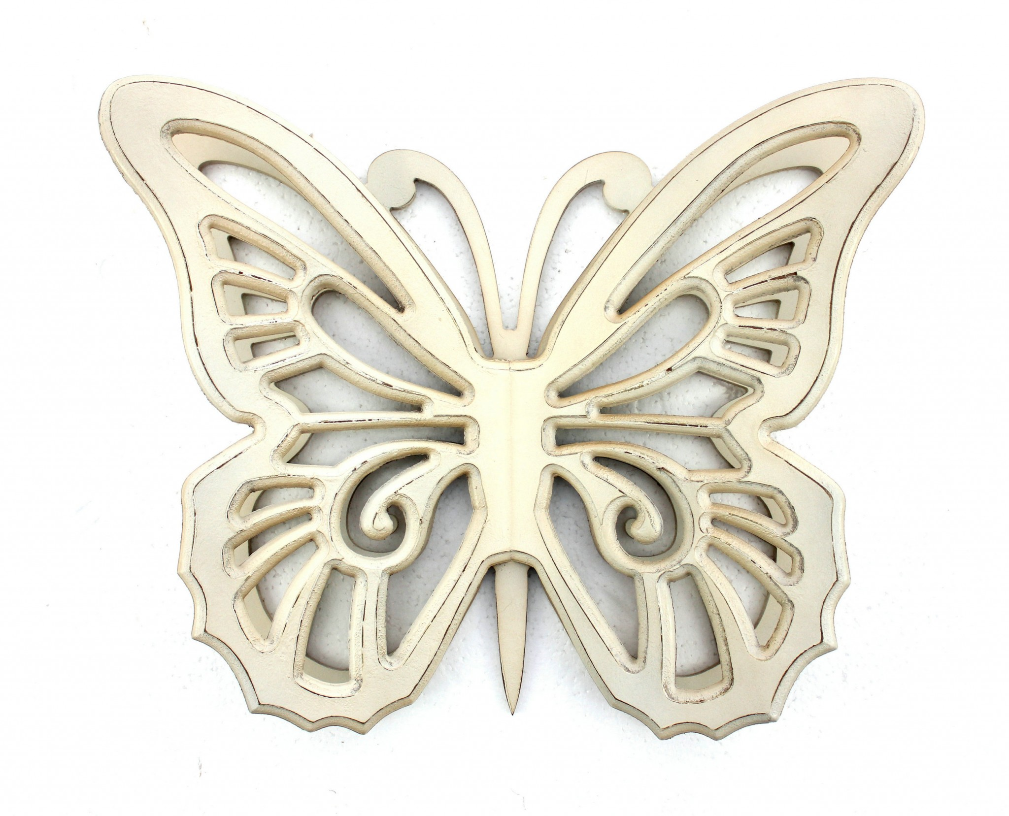 "4.25"" X 18.5"" X 23.25"" Light Yellow Rustic Butterfly Wooden Wall Decor"