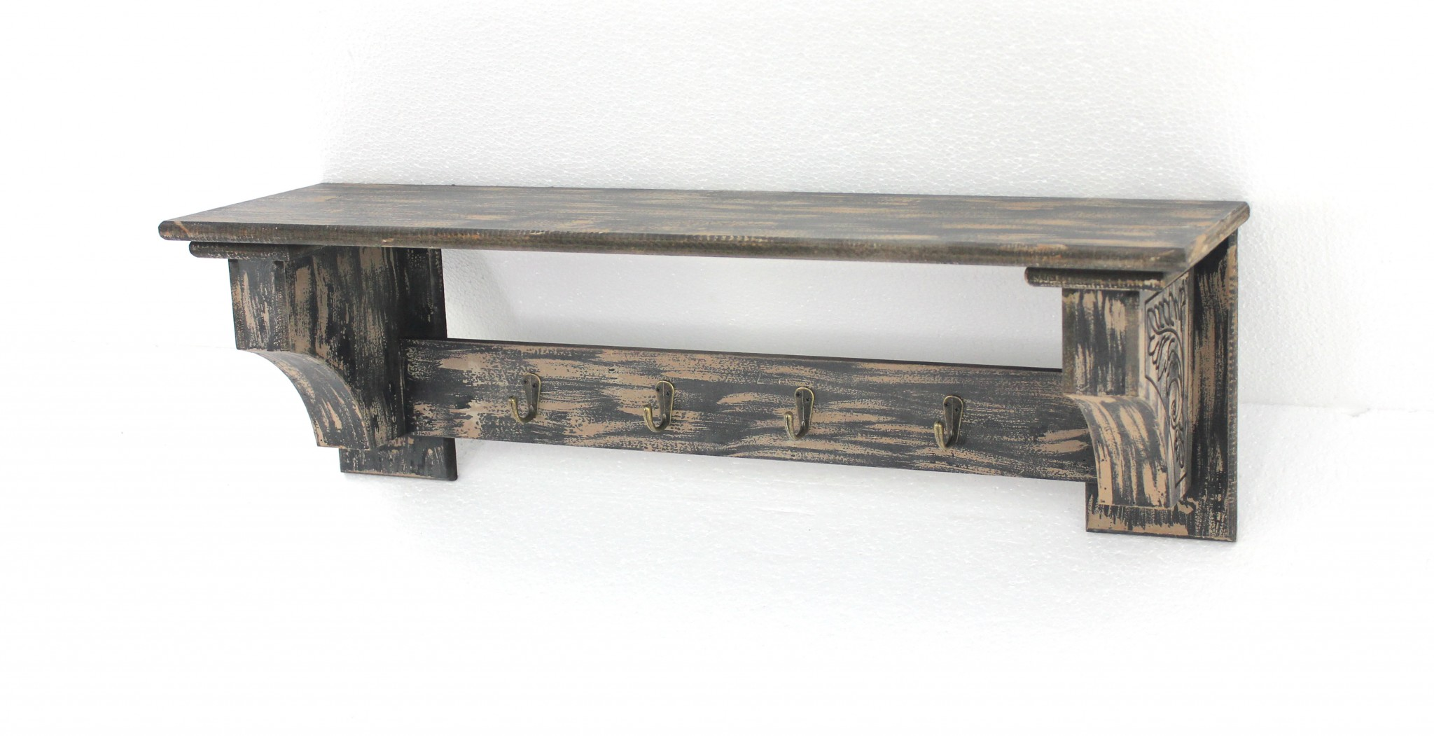 "9.75"" X 8"" X 30"" Black Vintage Wooden Wall Shelf With 4 Metal Hooks"