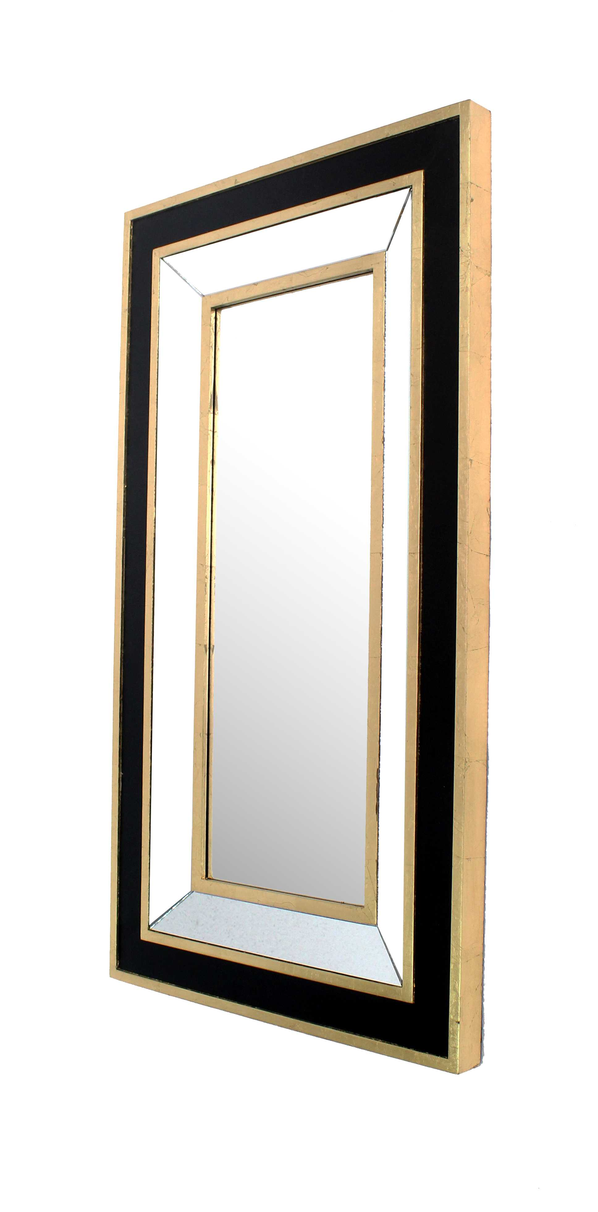 "2"" X 43"" X 24"" Black & Gold Classic Dressing Mirror"