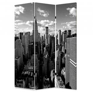 "1"" x 48"" x 72"" Multi Color Wood Canvas New York Skyline  Screen"