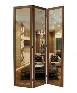 "1"" x 50"" x 69"" Brown Glass & Wood Mirror  Screen"