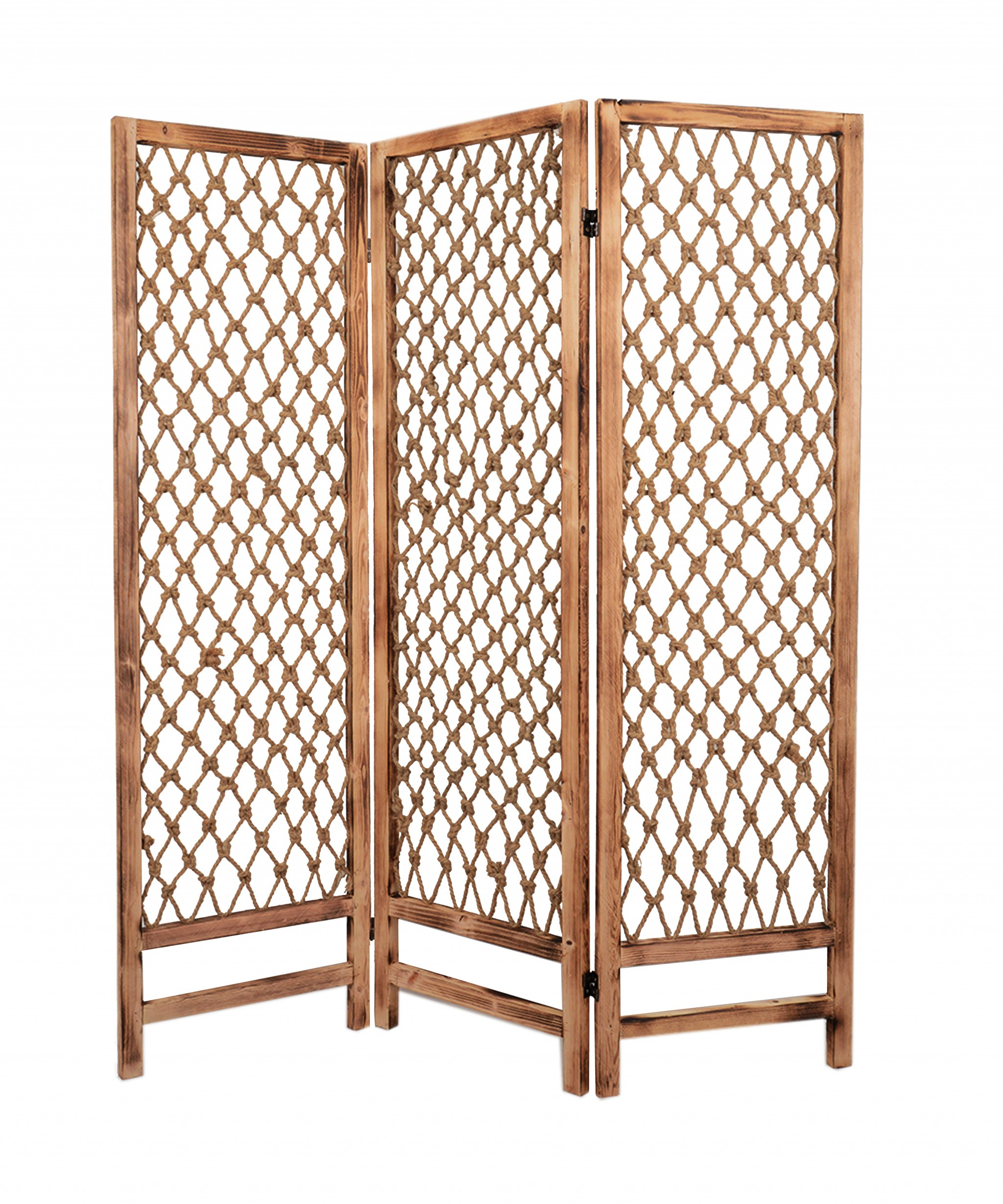 "69"" X 60"" Natural Rope Wooden Screen"