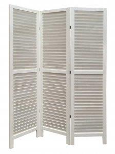 White Finish Wood Shutter 3 Panel Room Divider Screen