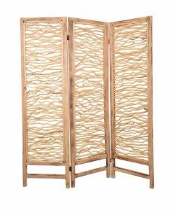 "1"" x 60"" x 69"" Brown, 3 Panel, Wood, Foldable - Screen"