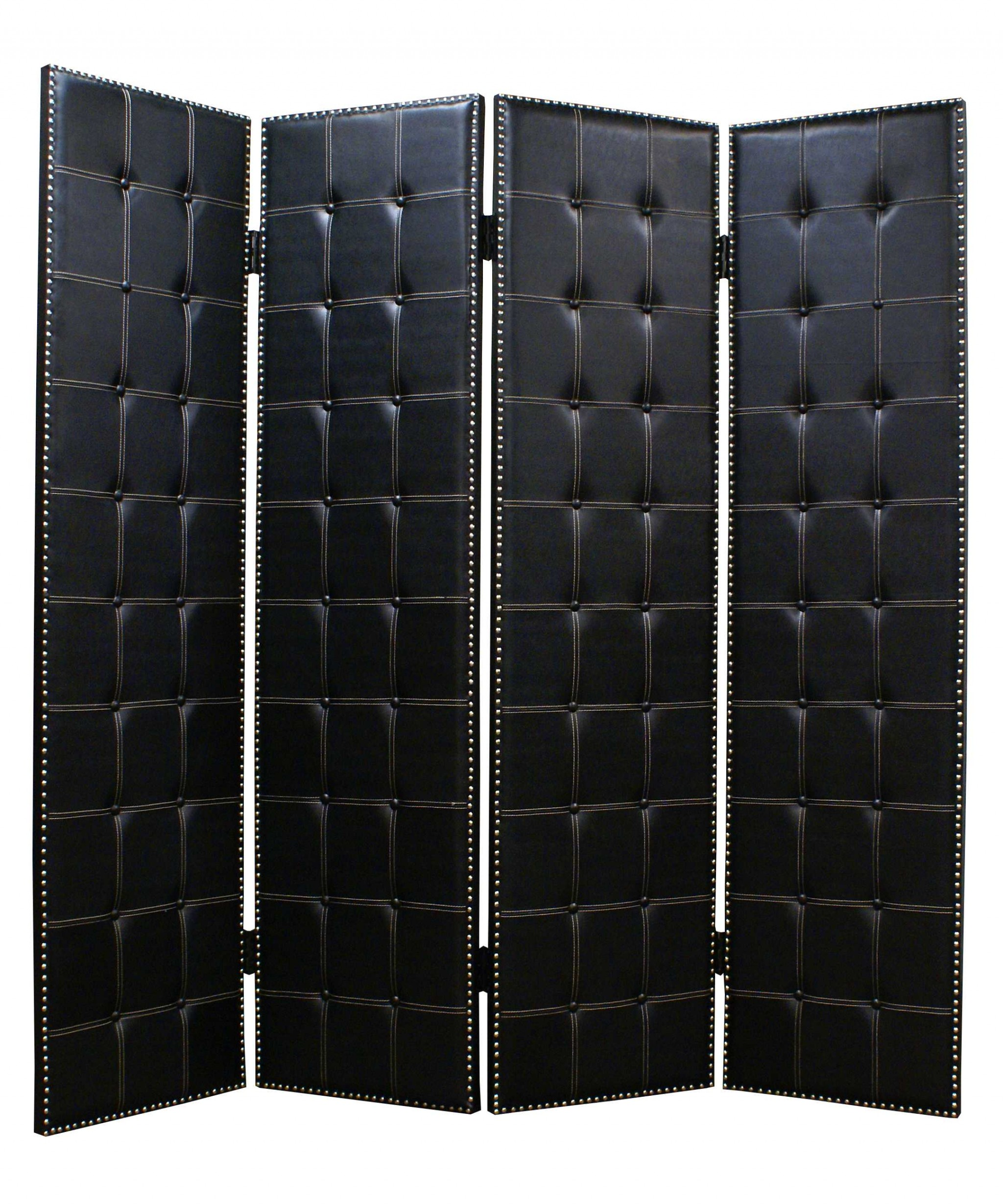 "84"" X 84"" Black Faux-leather Screen"