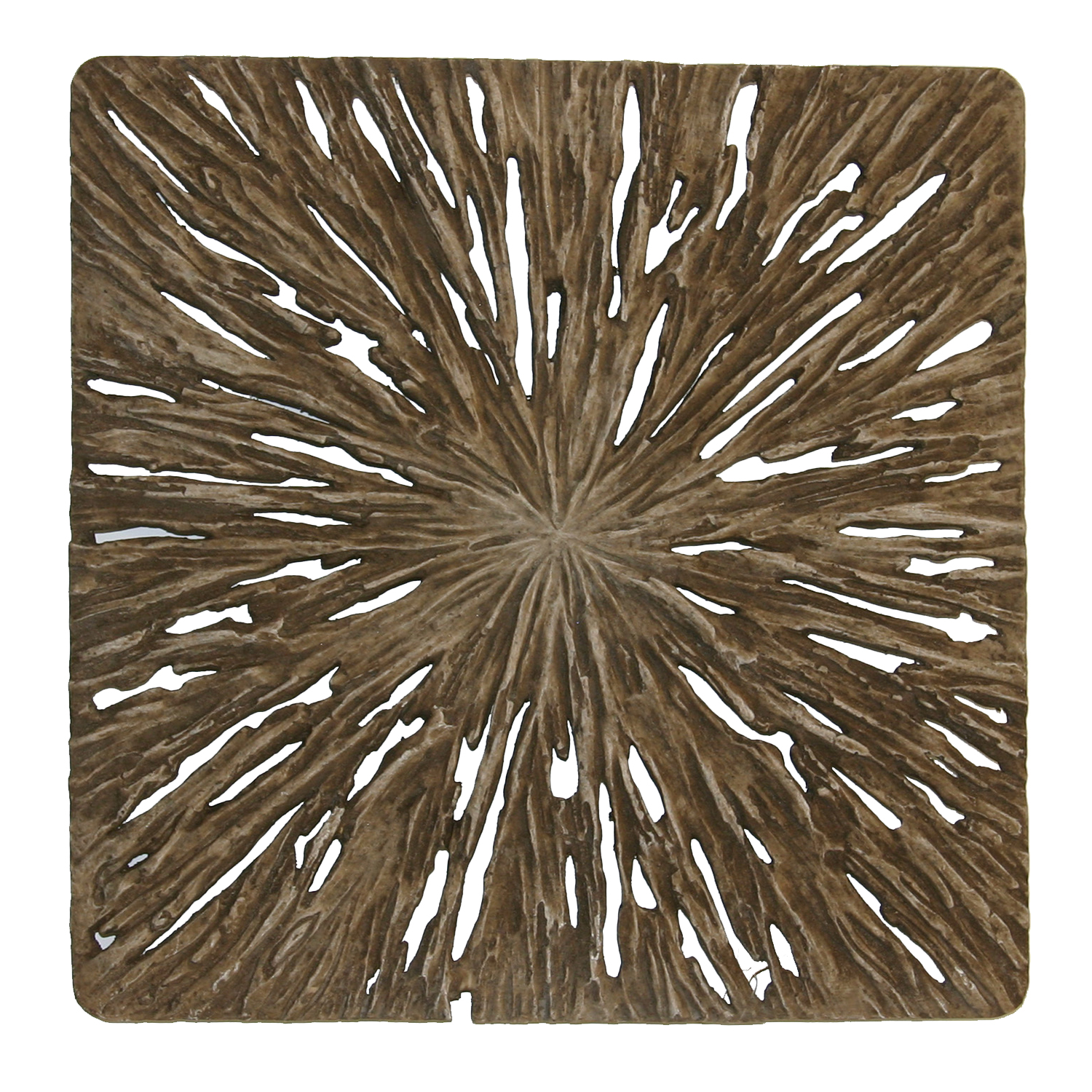 """19"""" X 19"""" X 2"""" Brown Square Rotten Wood Wall Décor Set of 2"""