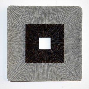 "1"" x 14"" x 14"" Brown & Gray Square Ribbed - Wall Art"