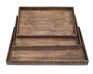 "19"" x 12"" Brown Wood  Tray Set"