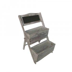 Home Garden Decorative Wood Shelf in Whitewash Gray