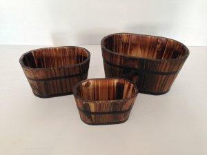 """1"""" x 10"""" x 7"""" Brown, Wood Garden Planter - 3 Piece"""