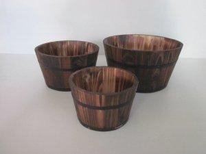 """1"""" x 10"""" x 1"""" Brown, Wood Garden Planter - 3 Piece"""